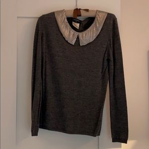 Authentic CHANEL grey sweater chain collar sz M